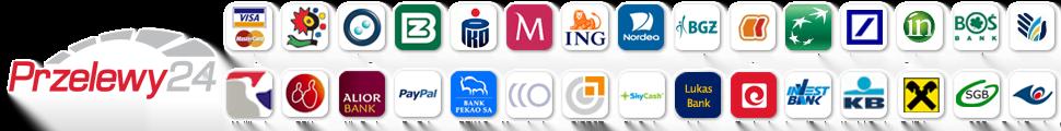 Przelewy24 - płatności: Inteligo, mBank, BZ WBK, BPH, ING, iPKONET, Credit Agricole, Plus Bank, Pekao, BGŻ, Millenium, PKO BP, BOŚ, Citi Handlowy, Deutsche Bank, BNP Paribas, Euro Bank, Raiffeisen, SGB, Alior, Bank Pocztowy, GetIn, Volkswagen Bank, Polbank, FM Bank, MeritumBank, Karty, PayPal...